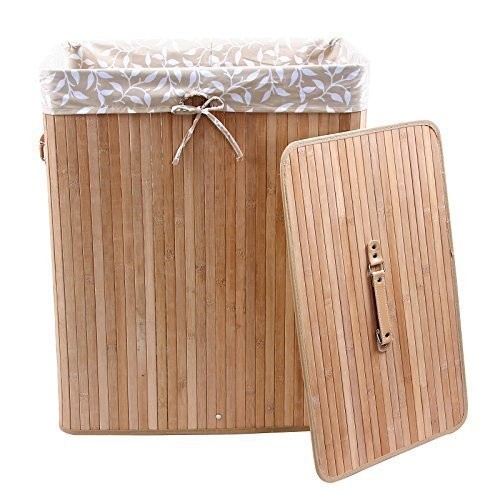 songmics gro 100l bambus faltbar w schekorb bodenkorb mit 2 f chern lights darks 3 griffe. Black Bedroom Furniture Sets. Home Design Ideas